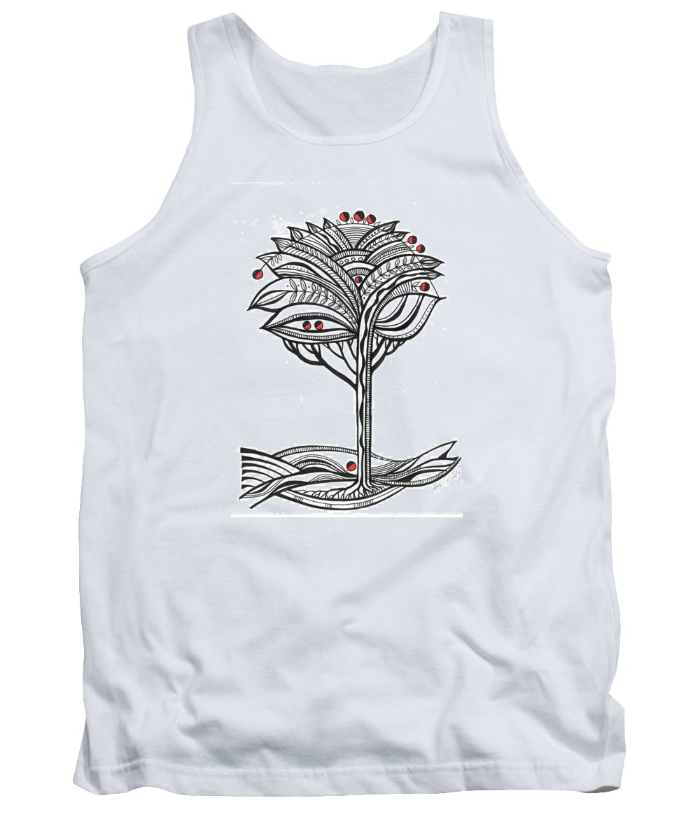 Abstract Tank Top featuring the drawing The Apple Tree by Aniko Hencz