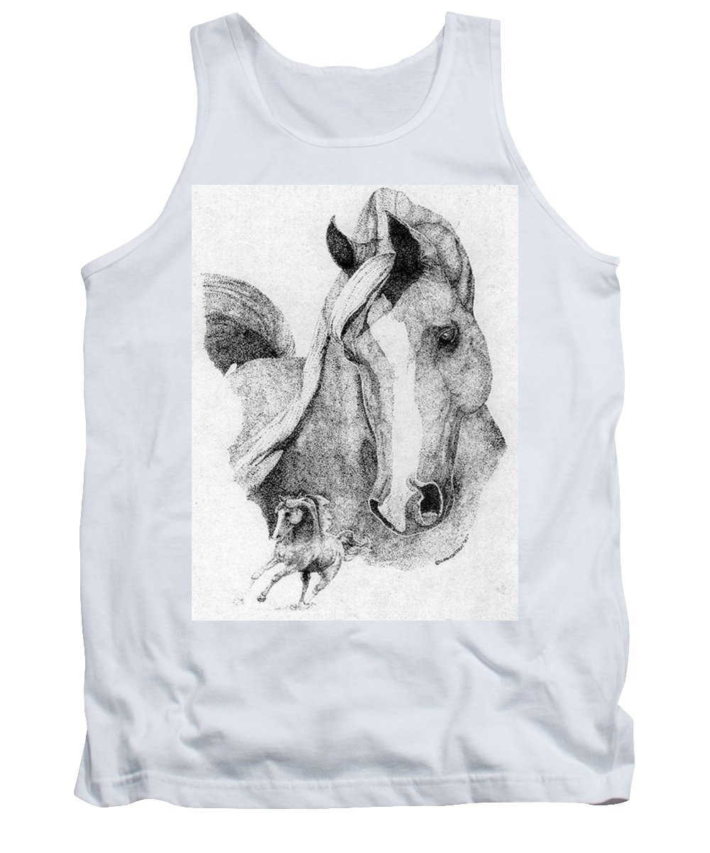 Horse Tank Top featuring the drawing The Arabian Stallion by Lucien Van Oosten
