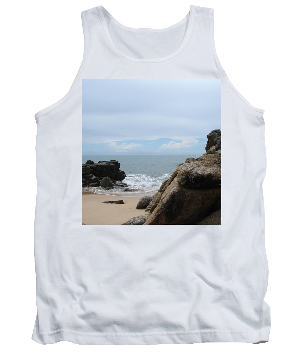 Sand Ocean Clouds Blue Sky Rocks Tank Top featuring the photograph The Beach 2 by Luciana Seymour