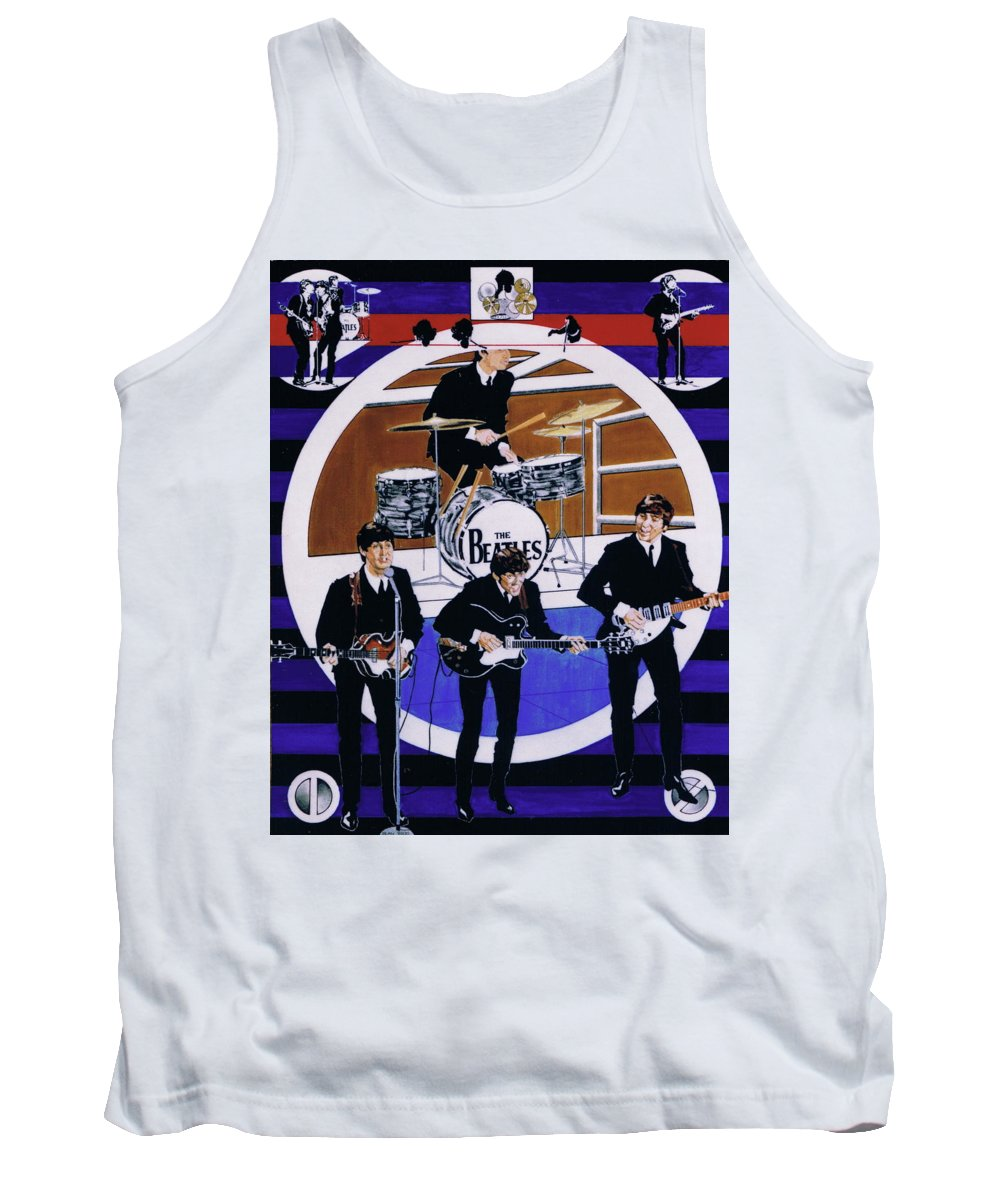 1960s Tank Top featuring the drawing The Beatles - Live On The Ed Sullivan Show by Sean Connolly