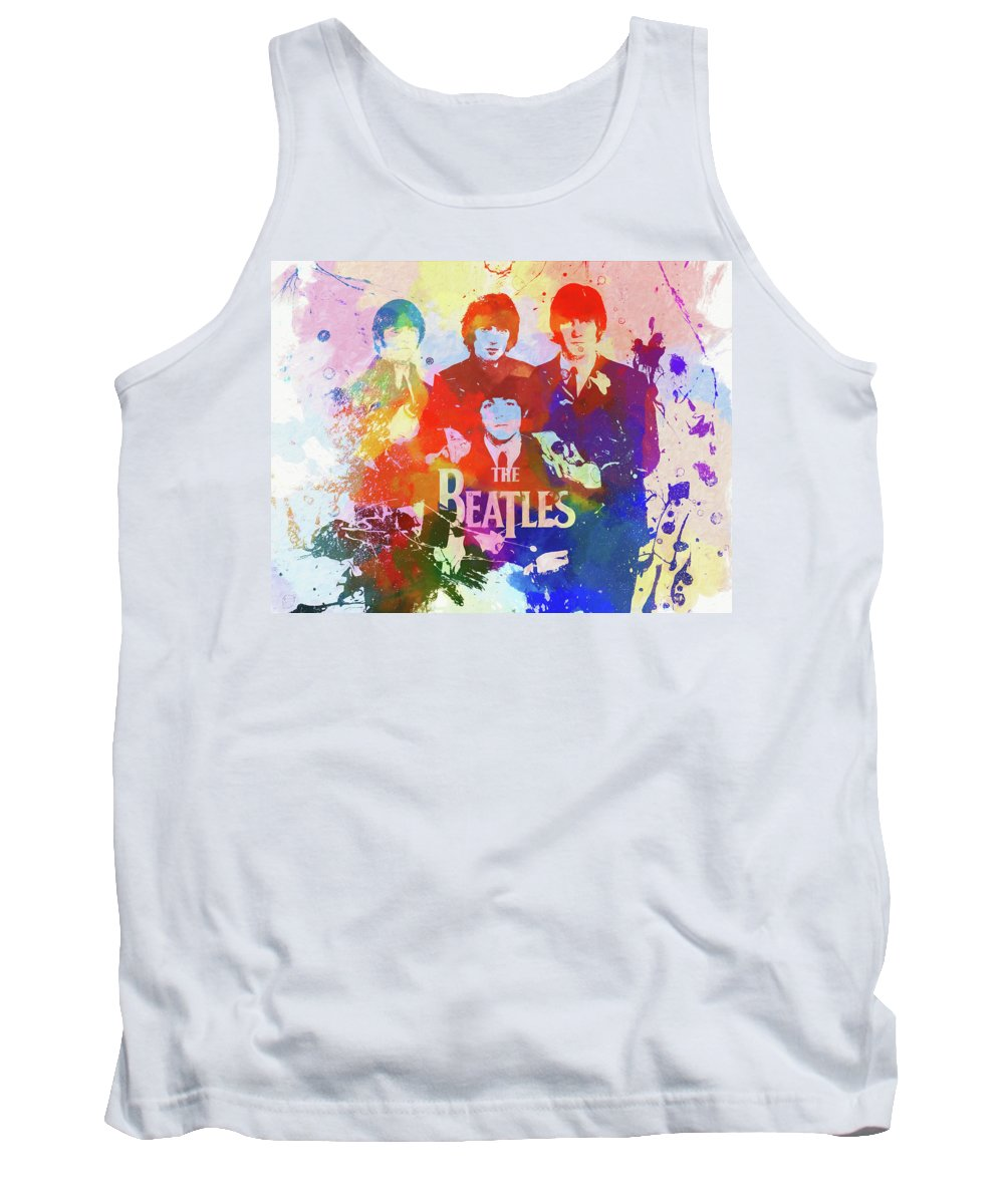 The Beatles Watercolor Tank Top featuring the painting The Beatles Paint Splatter by Dan Sproul