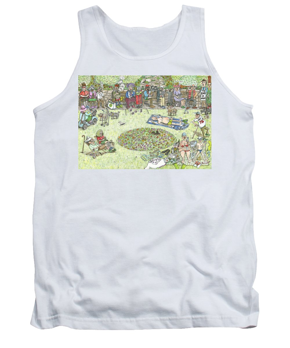 Old People Tank Top featuring the painting The Benchioner Zone Seafront Gardens by Steve Royce Griffin