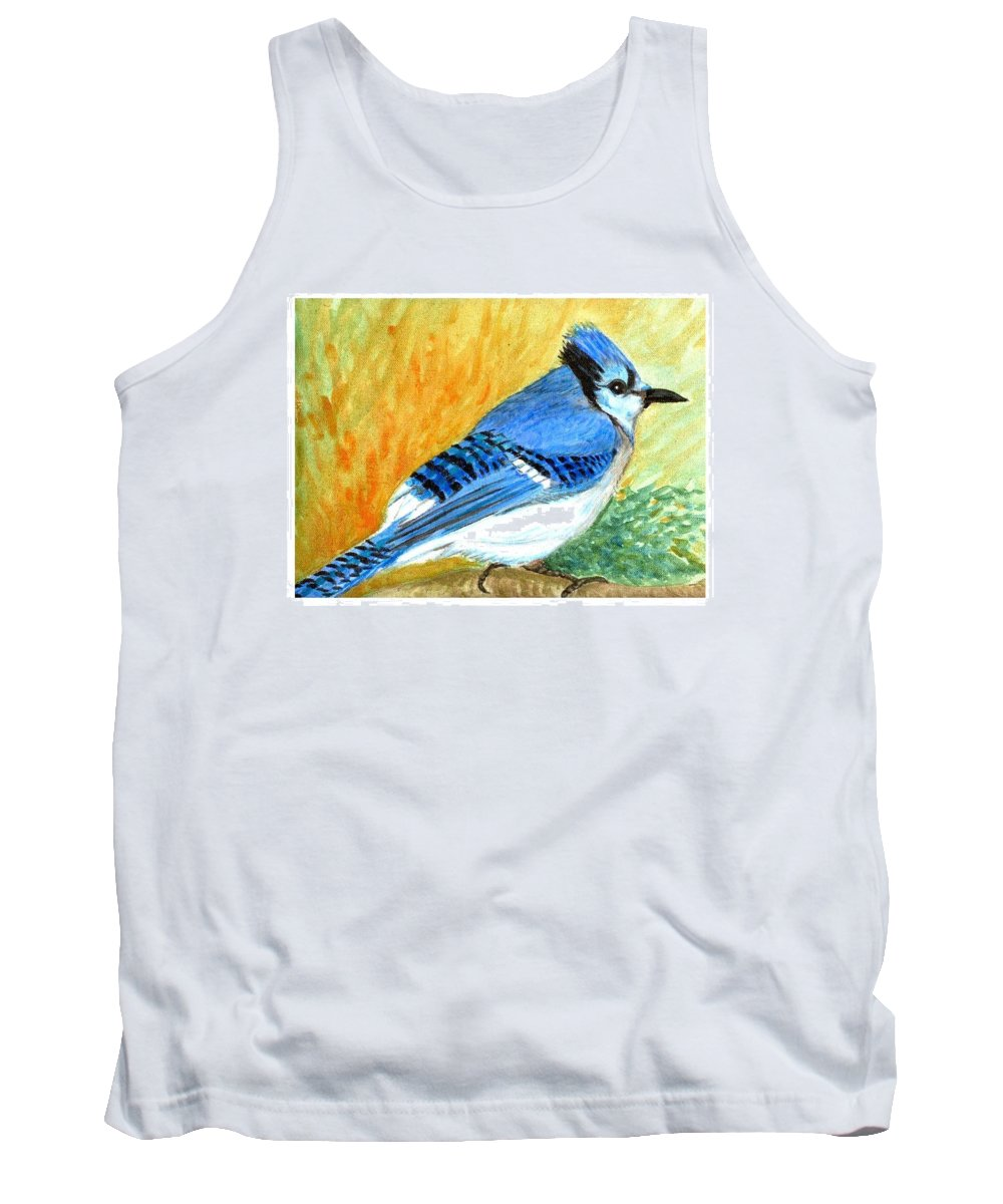 Bird Tank Top featuring the painting The Blue Jay by Asha Sudhaker Shenoy