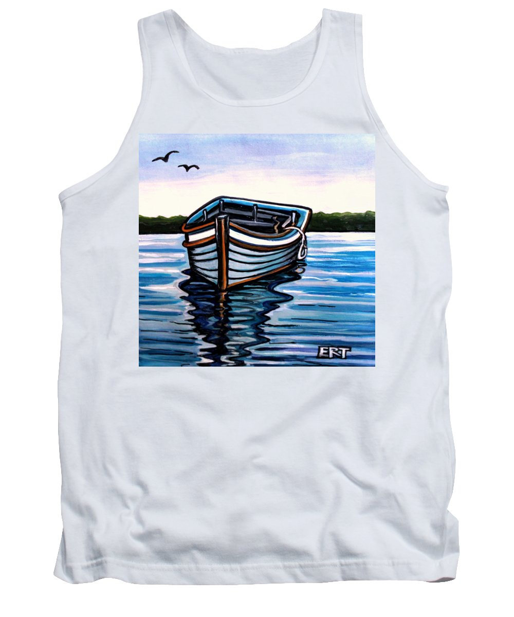 Blue Tank Top featuring the painting The Blue Wooden Boat by Elizabeth Robinette Tyndall