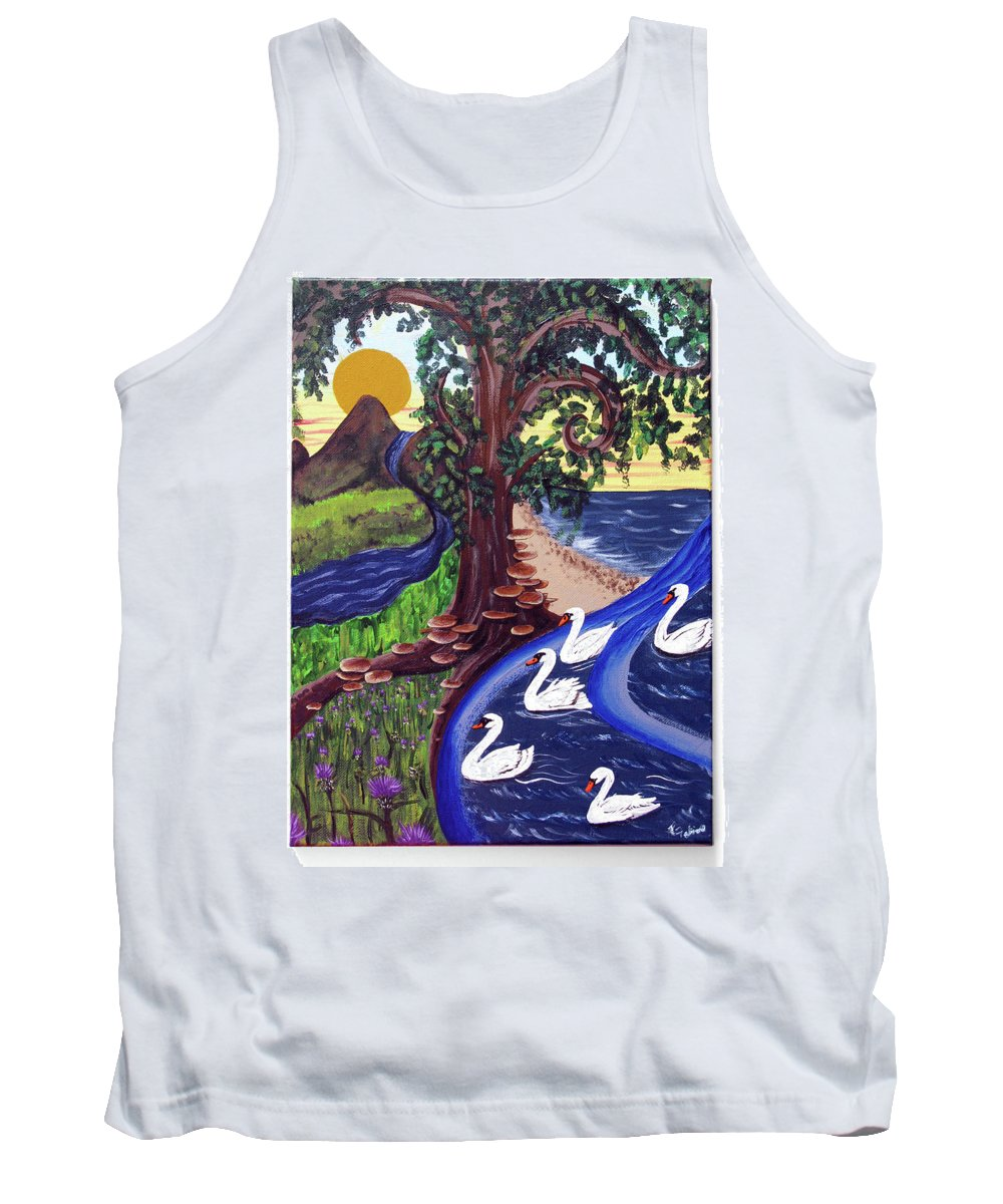 Swans Tank Top featuring the painting The Bonny Swans by Ruth Fabiano