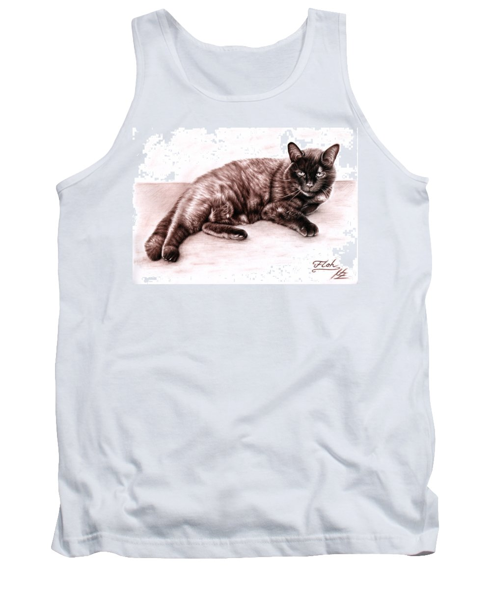 Cat Tank Top featuring the drawing The Cat by Nicole Zeug