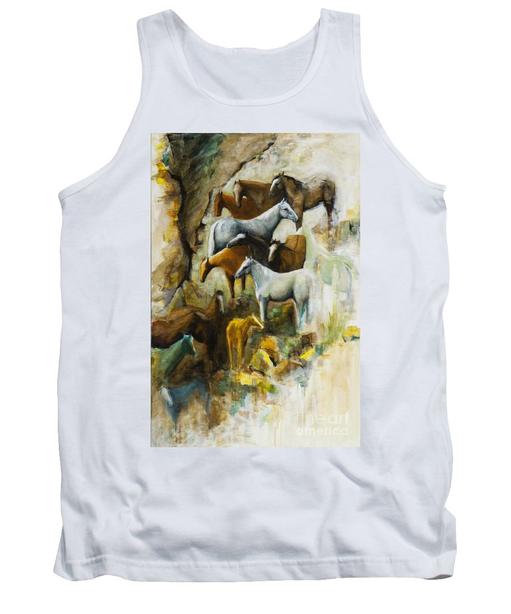 Equine Art Tank Top featuring the painting The Center Of Attention by Frances Marino