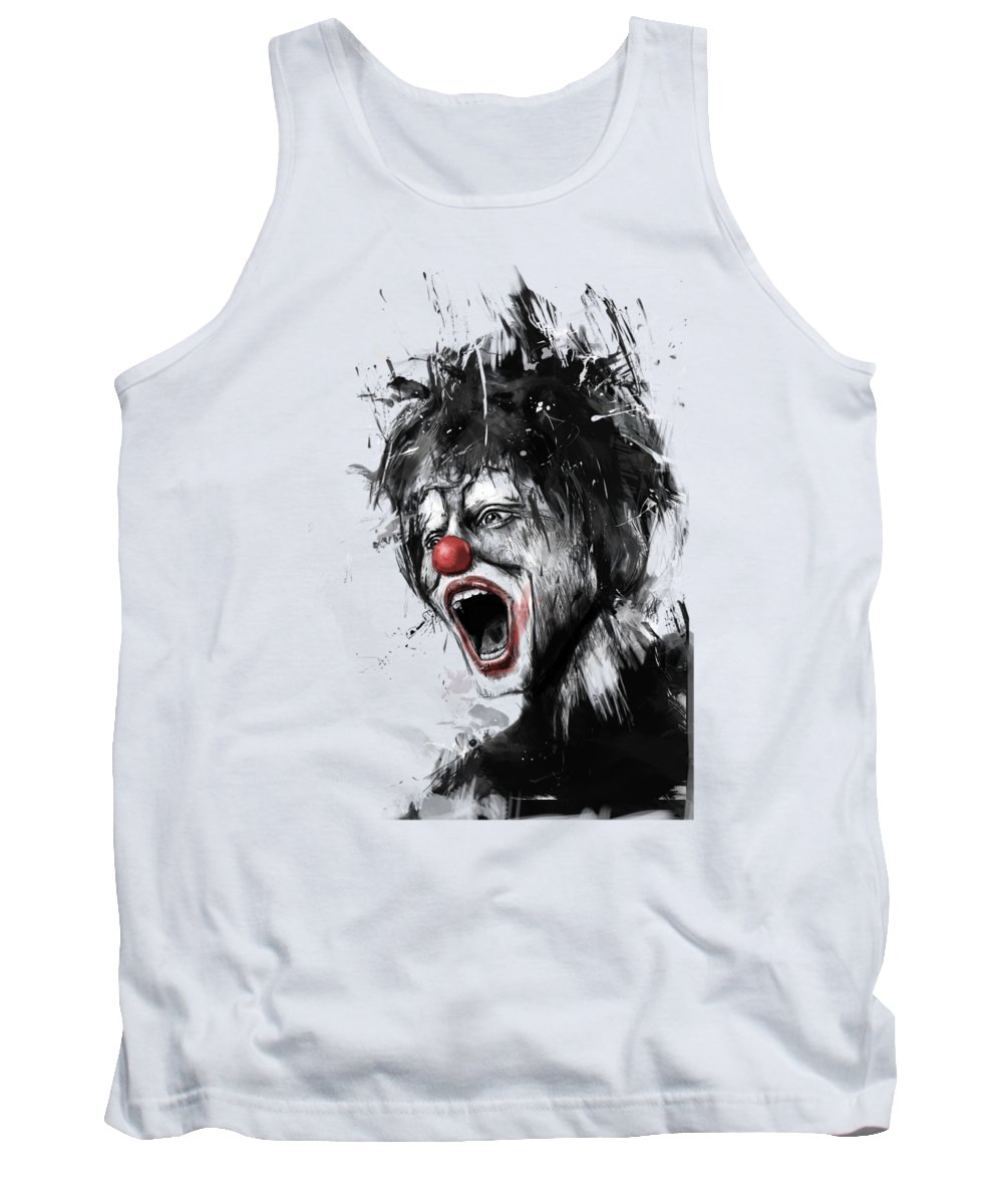 Clown Tank Top featuring the mixed media The Clown by Balazs Solti