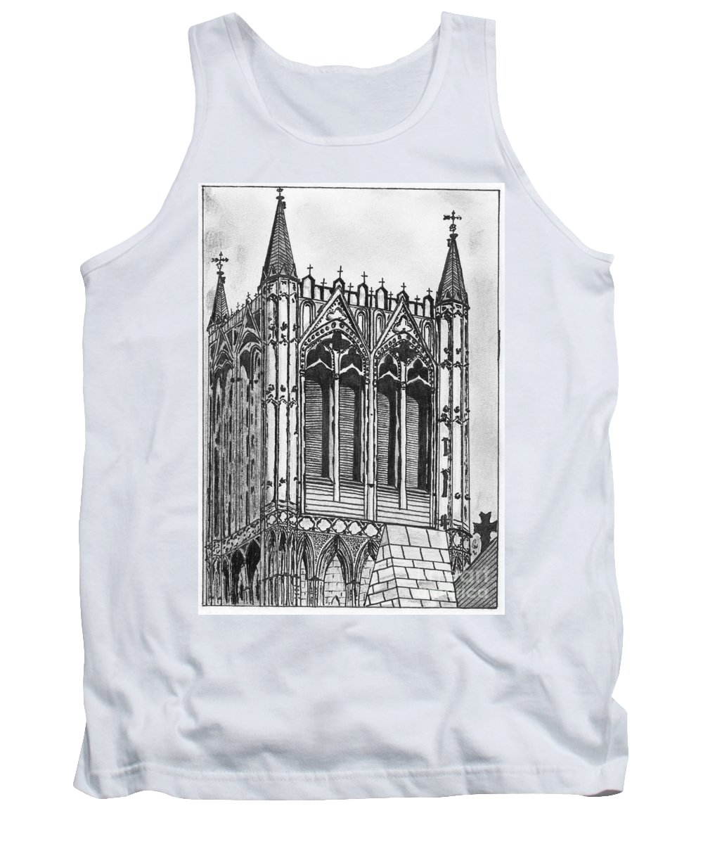 Crossing Tank Top featuring the drawing The Crossing Tower by Crystal Wacoche