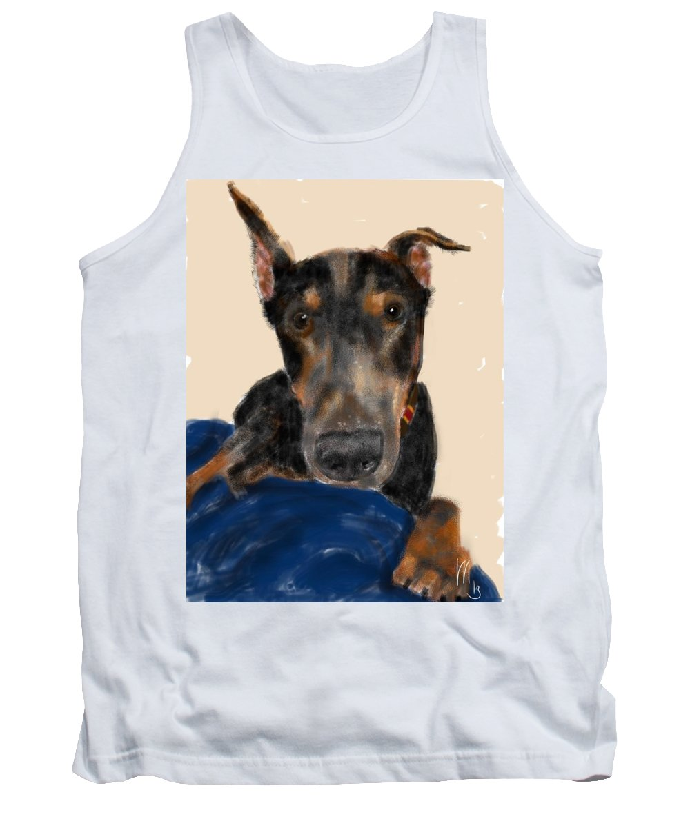 Doberman Tank Top featuring the painting The Doberman by Lois Ivancin Tavaf