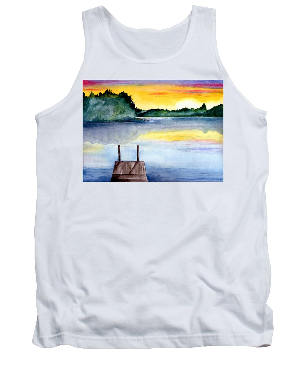 Watercolor Tank Top featuring the painting The Dock by Brenda Owen