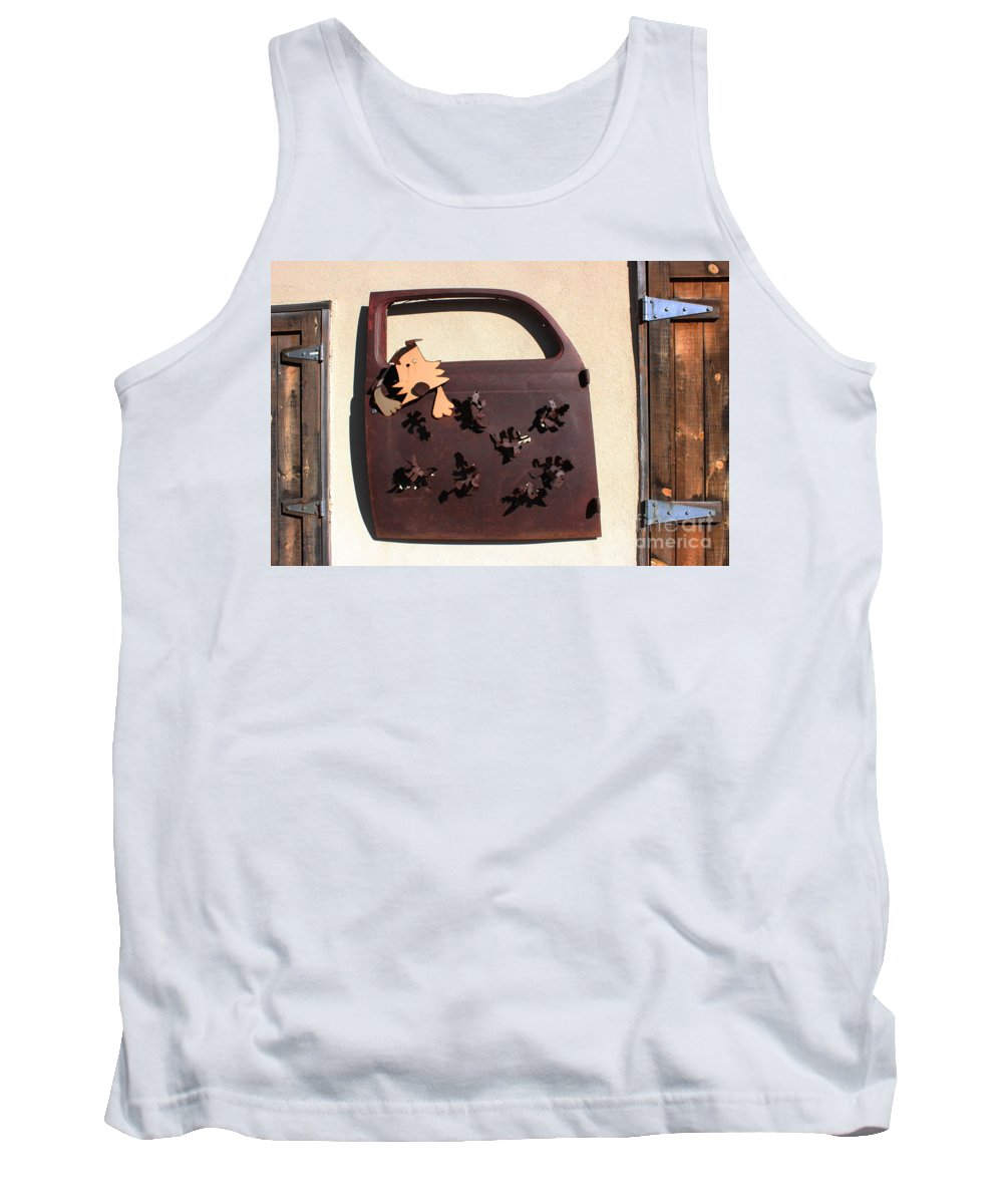 Doggies Tank Top featuring the photograph The Doggie Door by Natalie Ortiz