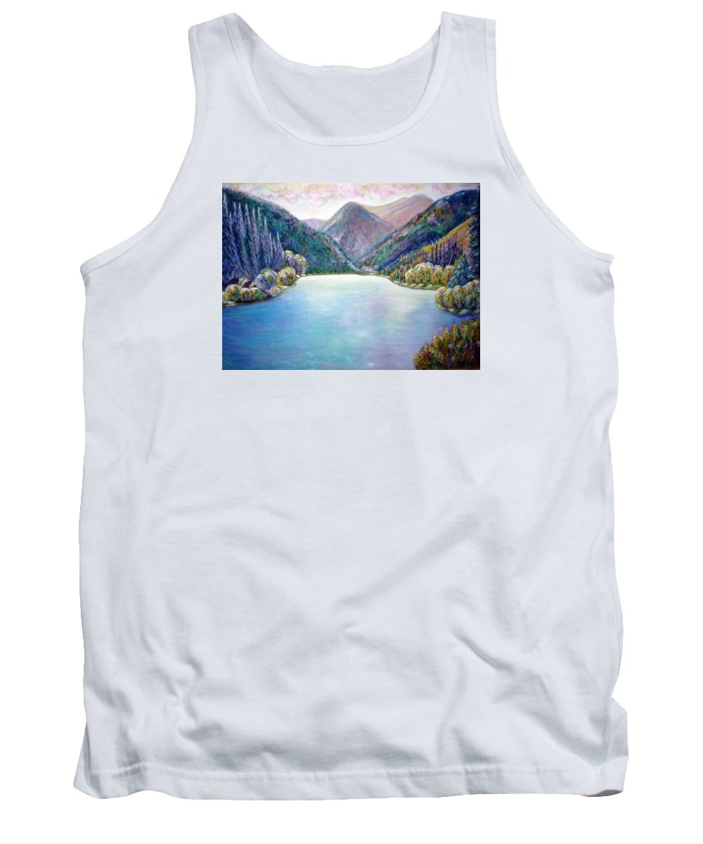 Lake Print Tank Top featuring the painting The First Frosty Morning At The Lake by Katreen Queen