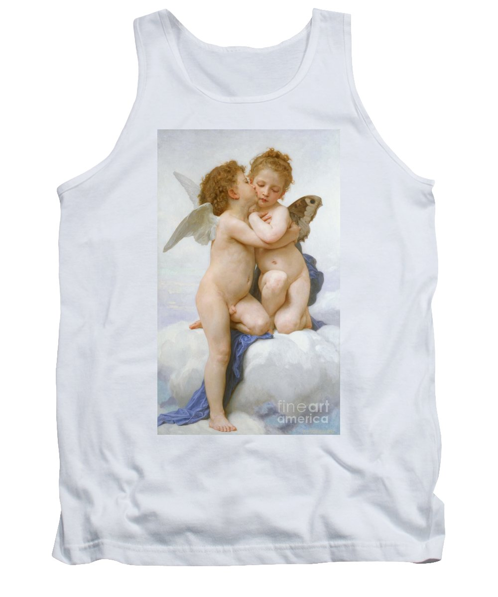 Cherubs; Cherub; Putti; Boy; Girl; Kissing; Embracing; Wings; Nude; Affection; Innocence; Cloud; Kiss Tank Top featuring the painting The First Kiss by William Adolphe Bouguereau