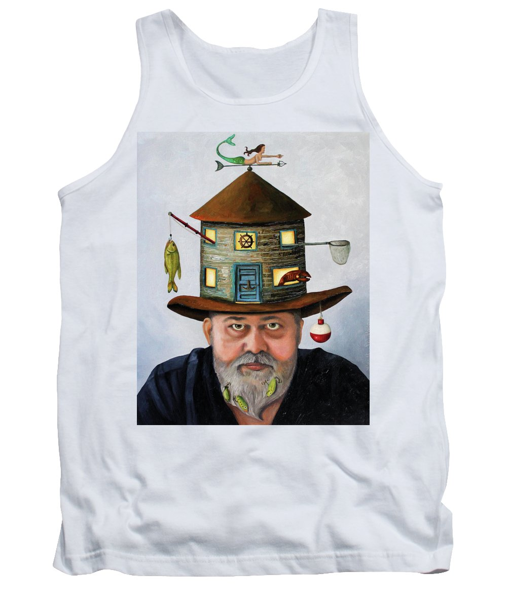 Fish Tank Top featuring the painting The Fisherman by Leah Saulnier The Painting Maniac