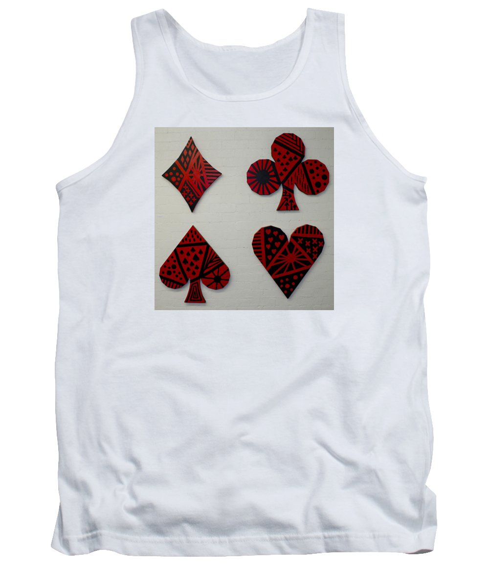 Poker Tank Top featuring the painting The Four Suits by Bodlar