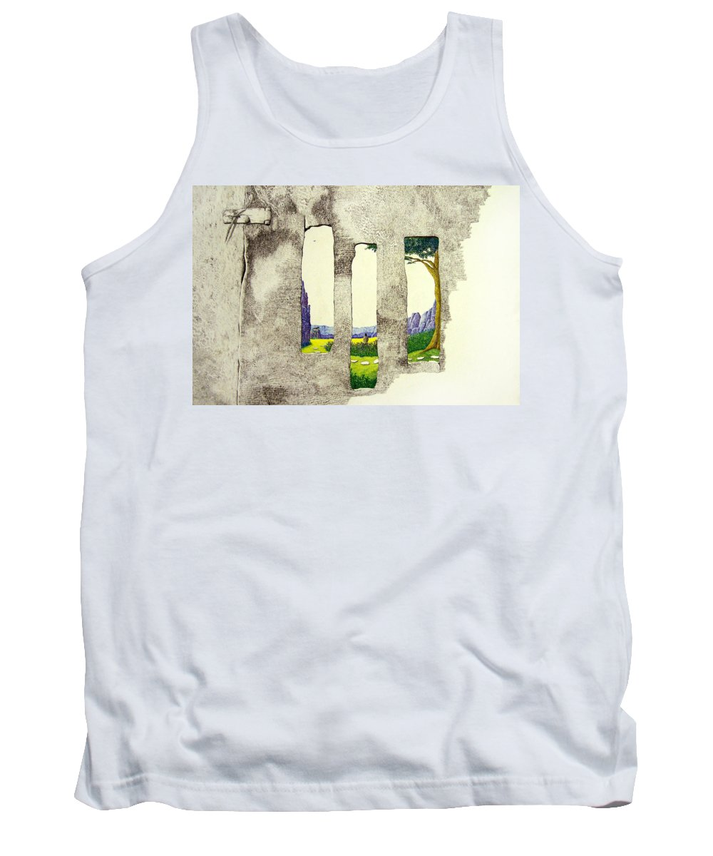 Imaginary Landscape. Tank Top featuring the painting The Garden by A Robert Malcom