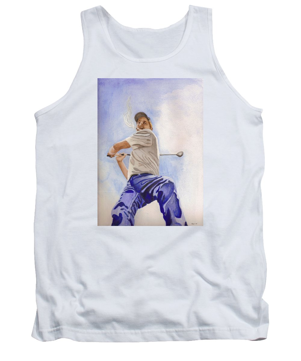 Figure Tank Top featuring the painting The Golfer by Lois Boyce