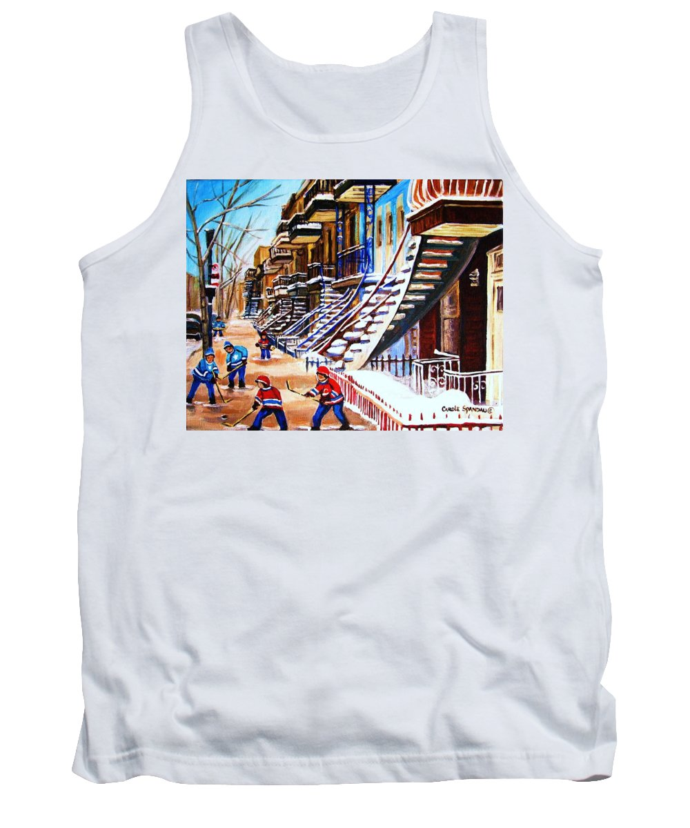Hockey Tank Top featuring the painting The Gray Staircase by Carole Spandau