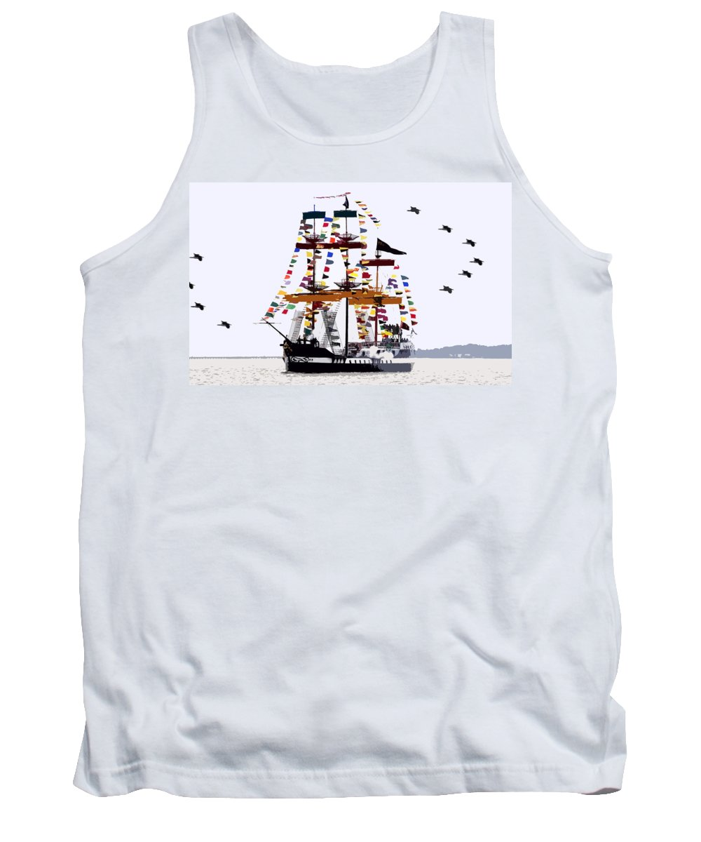 Gasparilla Tank Top featuring the painting The Great Ship Gasparilla by David Lee Thompson