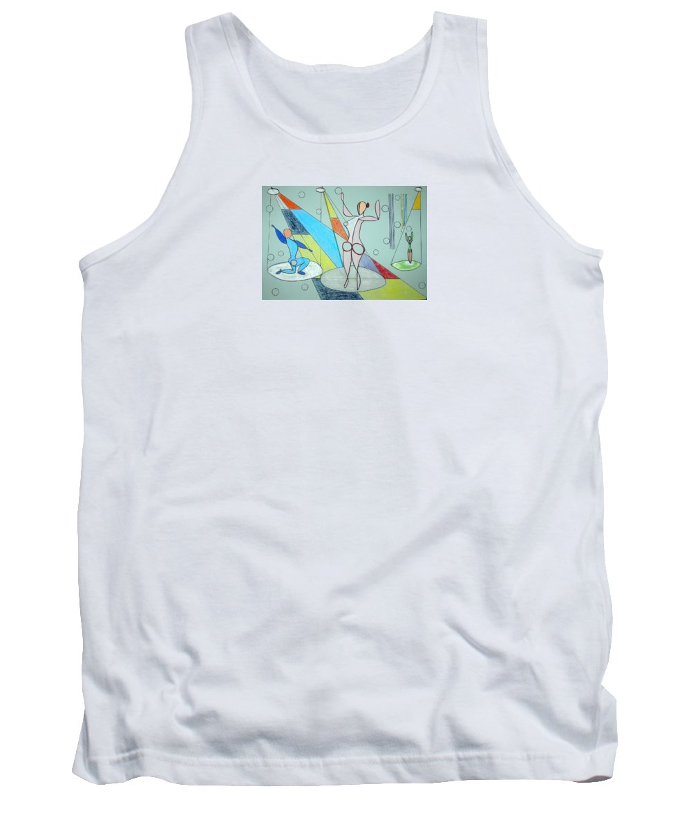 Juggling Tank Top featuring the drawing The Jugglers by J R Seymour