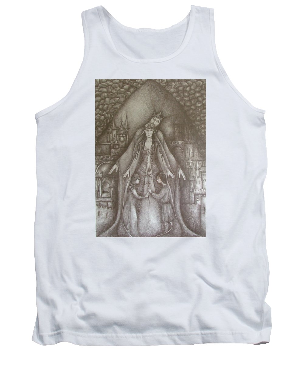 Drawing Tank Top featuring the drawing Royal Family by Rita Fetisov