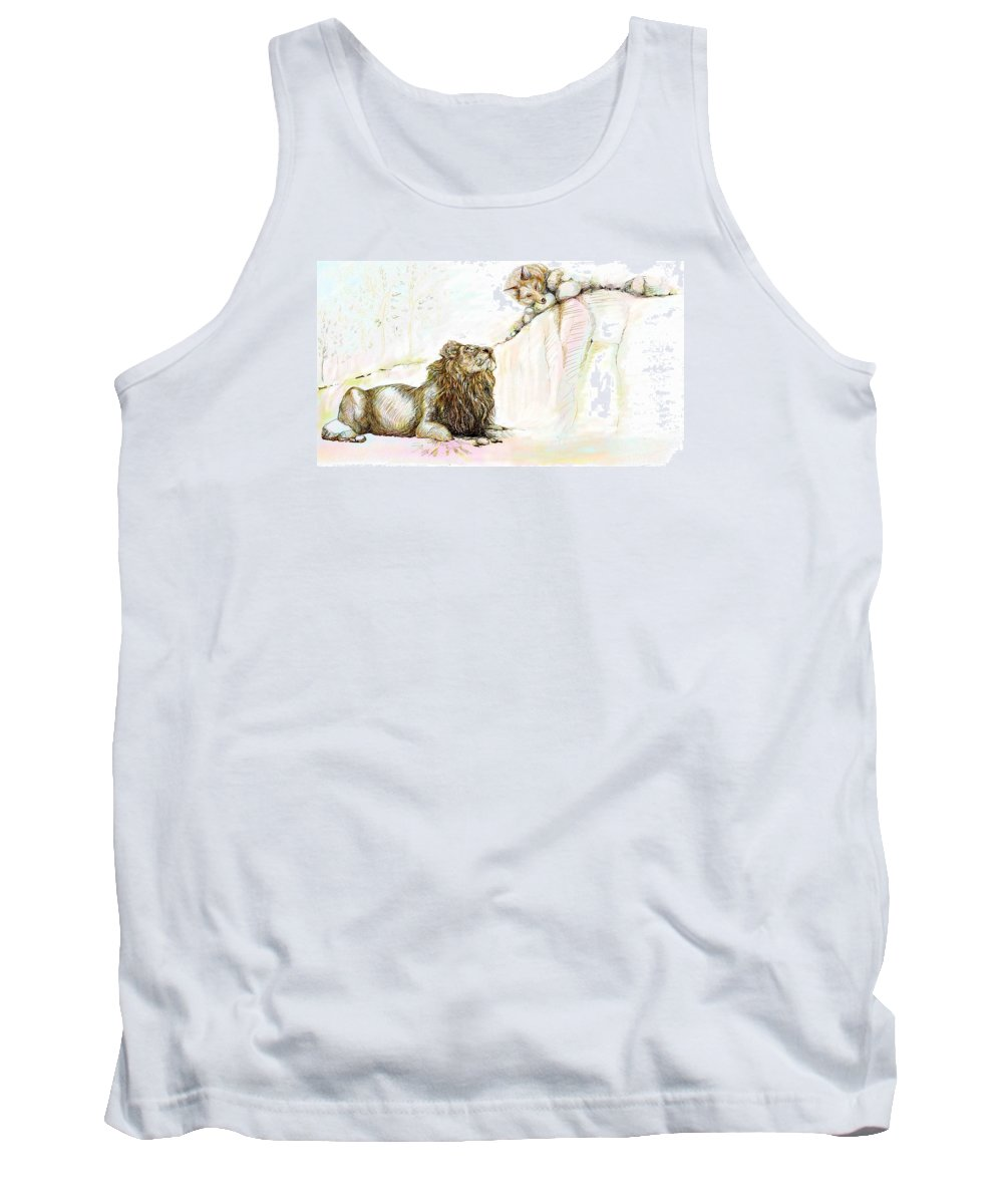 Lion Tank Top featuring the painting The Lion And The Fox 1 - The First Meeting by Sukalya Chearanantana