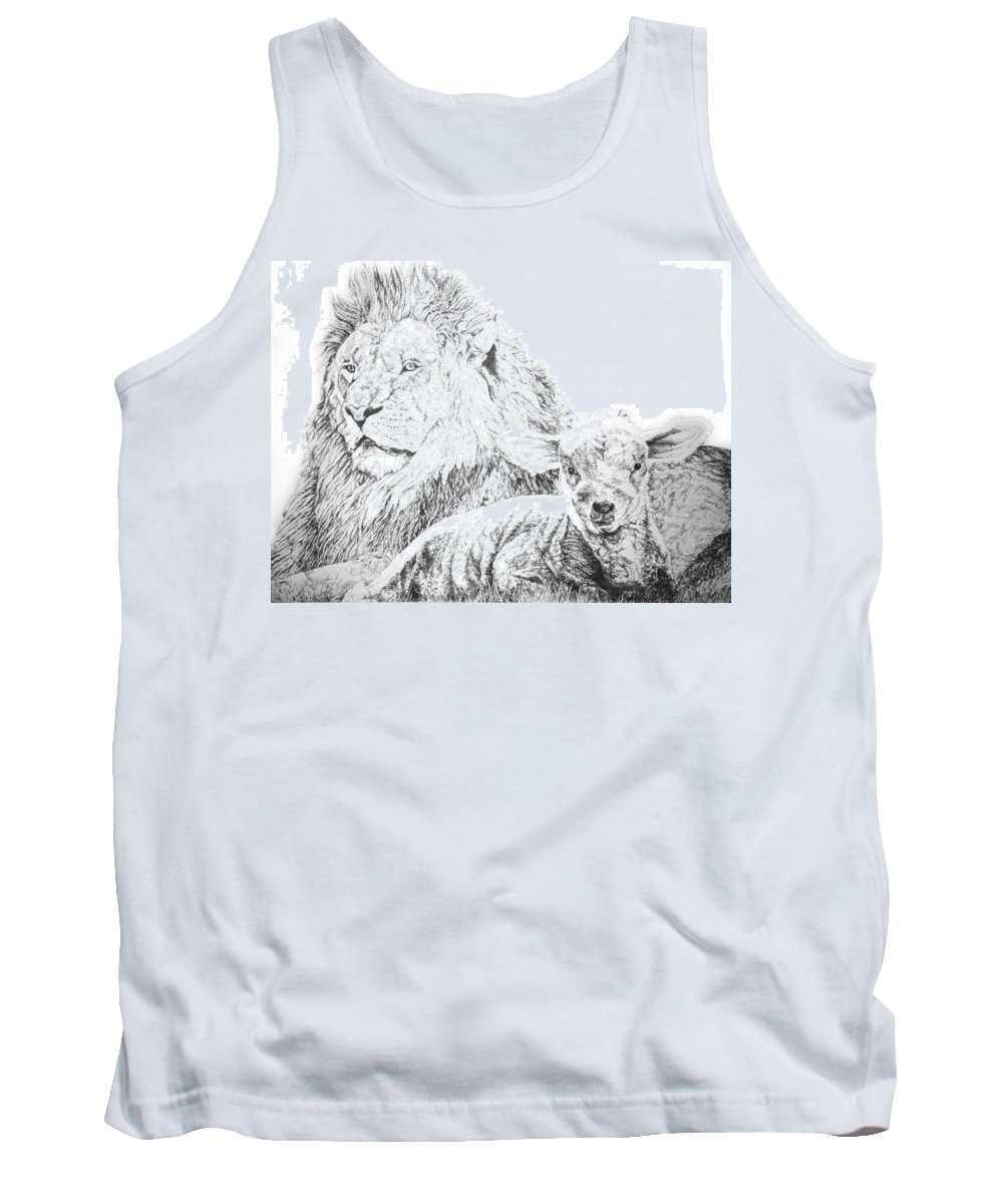 Lion Tank Top featuring the drawing The Lion And The Lamb by Bryan Bustard