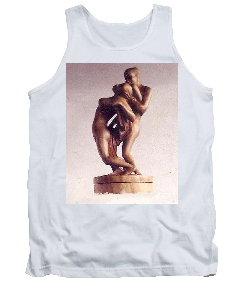 African Art Tank Top featuring the sculpture The Lovers by Emmanuel Baliyanga