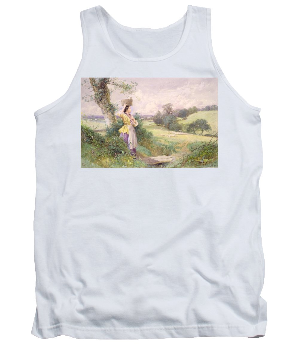 The Tank Top featuring the painting The Milkmaid by Myles Birket Foster