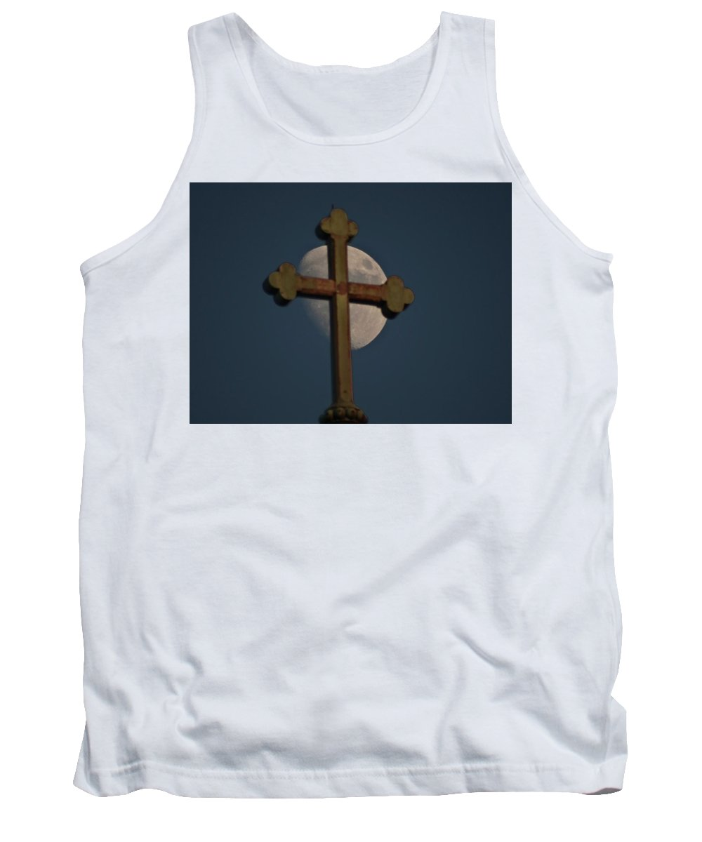 Moon Tank Top featuring the photograph The Moon And The Cross II by Explorer Lenses Photography