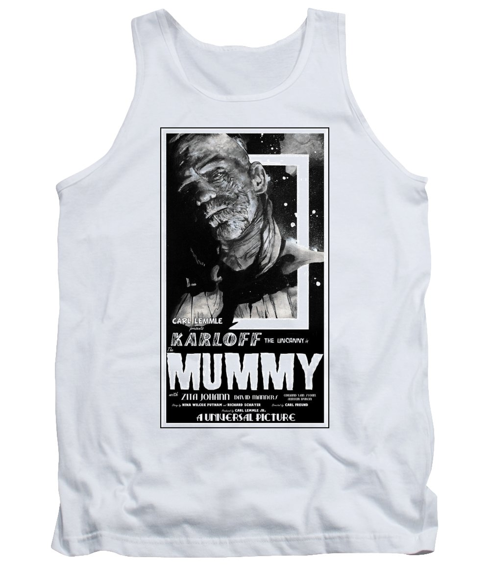 Mummy Tank Top featuring the mixed media The Mummy 1932 Movie Poster by Sean Parnell