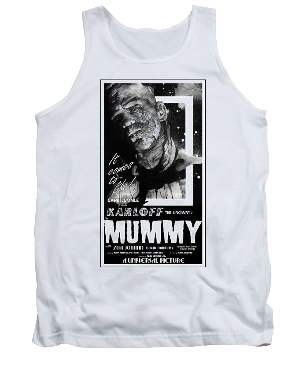 Mummy Tank Top featuring the painting The Mummy 1932 Movie Poster With Tagline by Sean Parnell