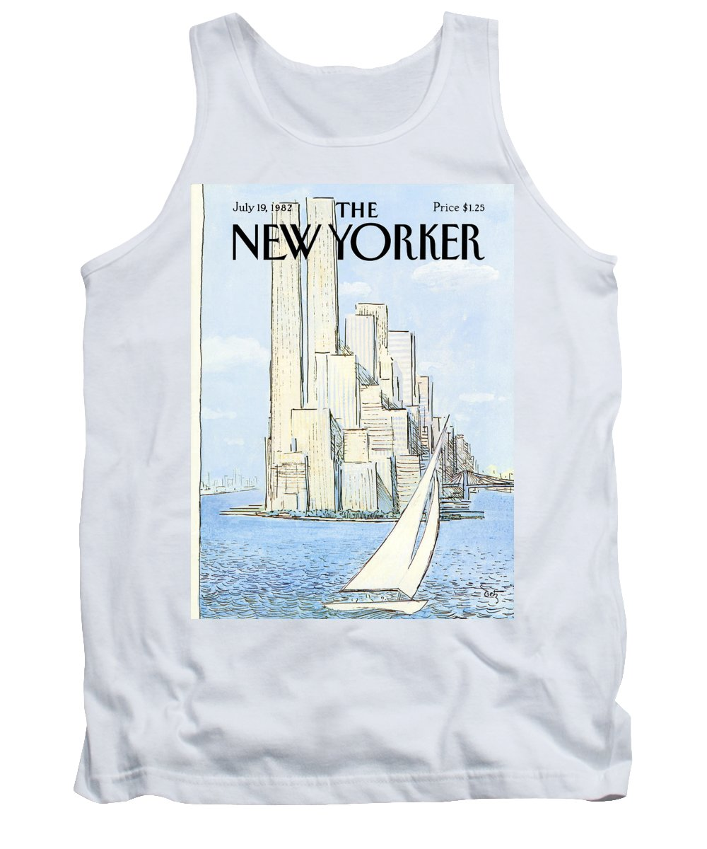 Regional Tank Top featuring the painting The New Yorker Cover - July 19th, 1982 by Arthur Getz