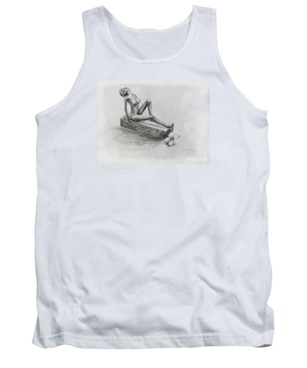 Nude Tank Top featuring the drawing The Nude Sculpture by Sukalya Chearanantana
