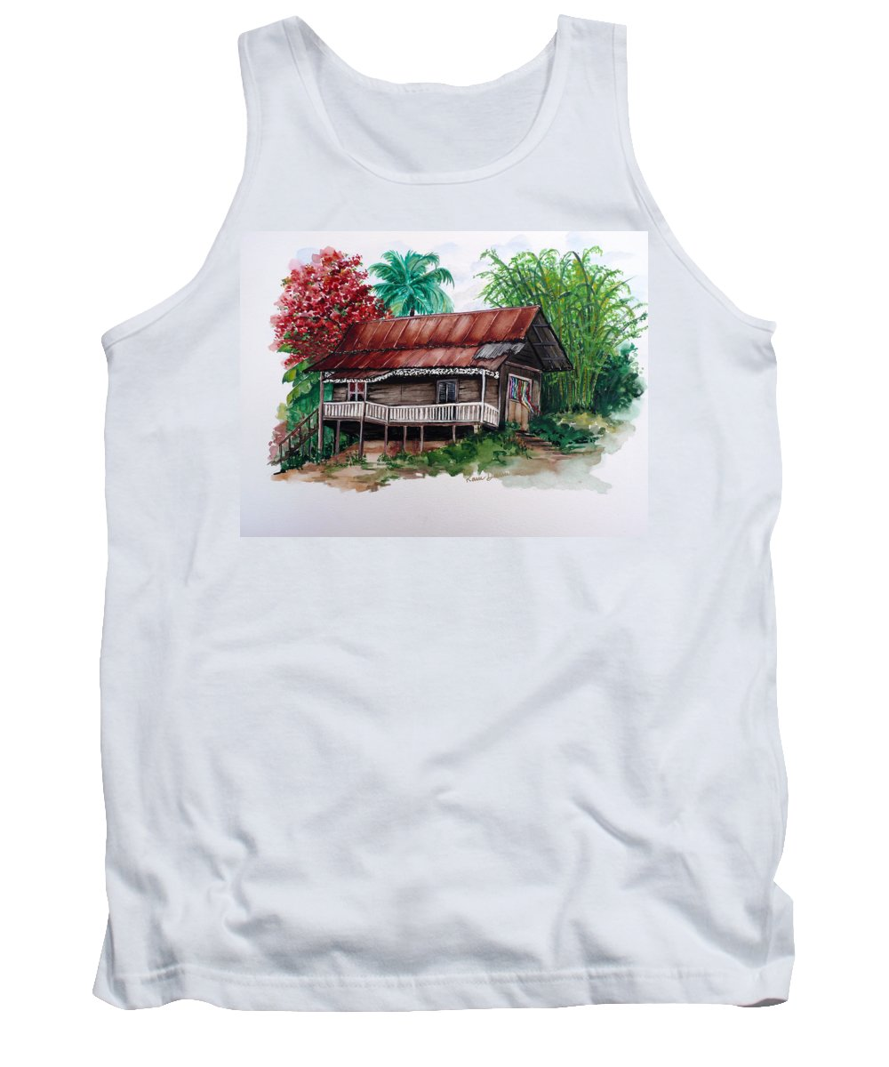 Tropical Painting Poincianna Painting Caribbean Painting Old House Painting Cocoa House Painting Trinidad And Tobago Painting  Tropical Painting Flamboyant Painting Poinciana Red Greeting Card Painting Tank Top featuring the painting The Old Cocoa House by Karin Dawn Kelshall- Best
