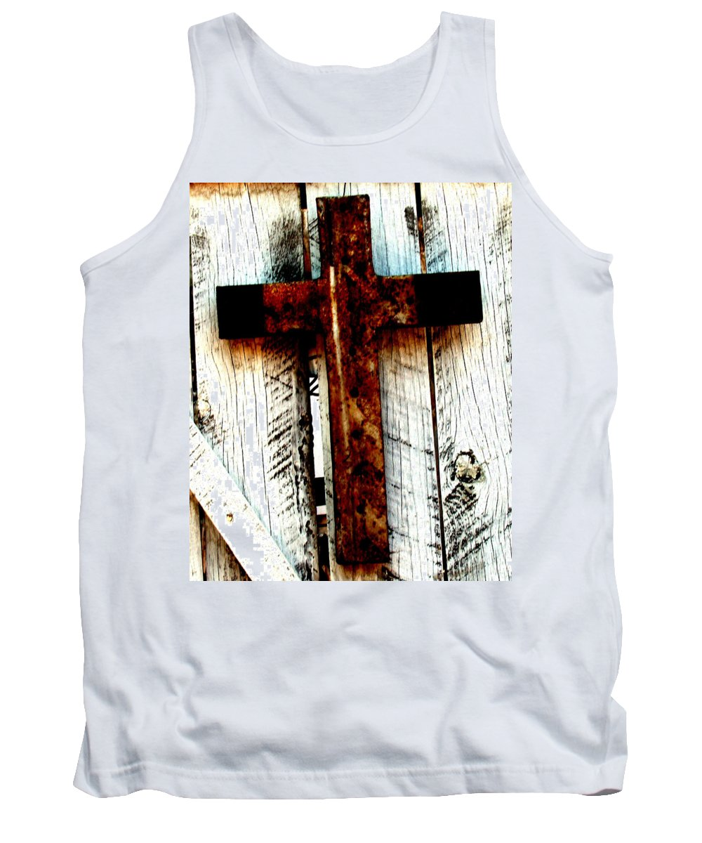 Cross Tank Top featuring the photograph The Old Rusted Cross by Wayne Potrafka