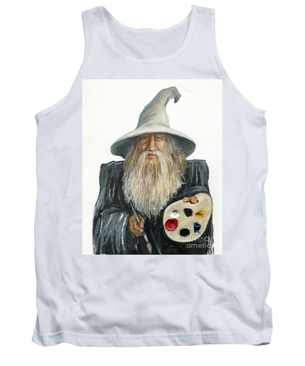 Wizard Tank Top featuring the painting The Painting Wizard by J W Baker