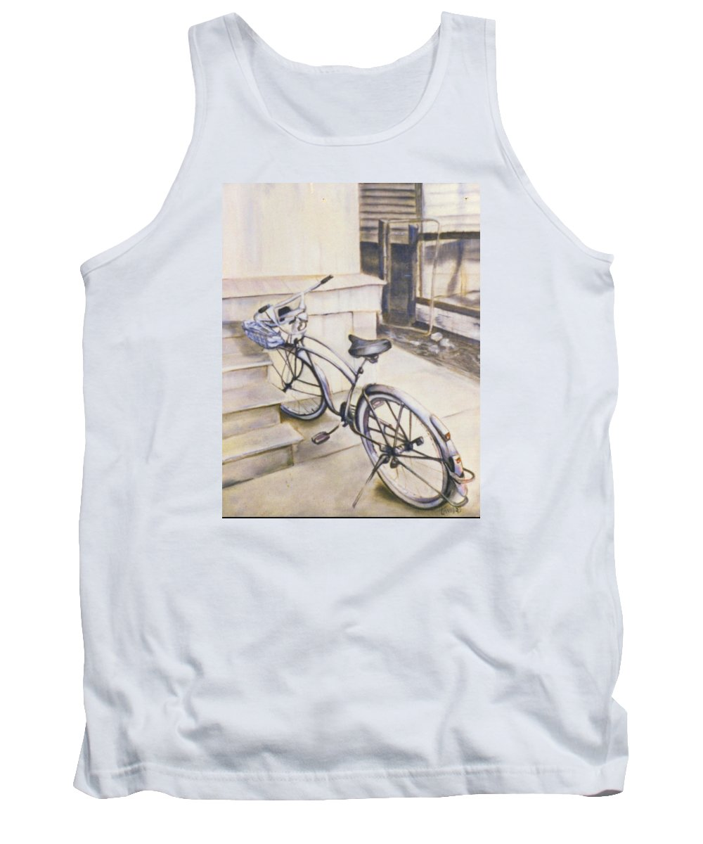Bicycle Tank Top featuring the painting The Paper Route by Janet Lavida