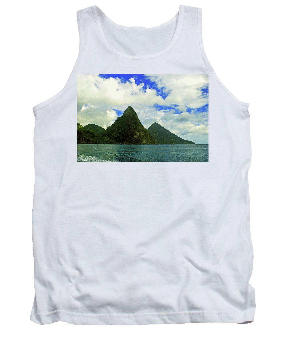 Caribberan Islands Tank Top featuring the photograph The Pitons by Gary Wonning