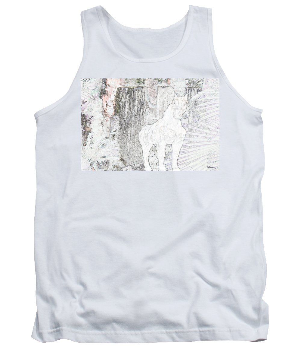Waterfall Horse Horses Stallion Jungle Forest Scenery Trees Fantasy Tank Top featuring the photograph The Protector by Andrea Lawrence