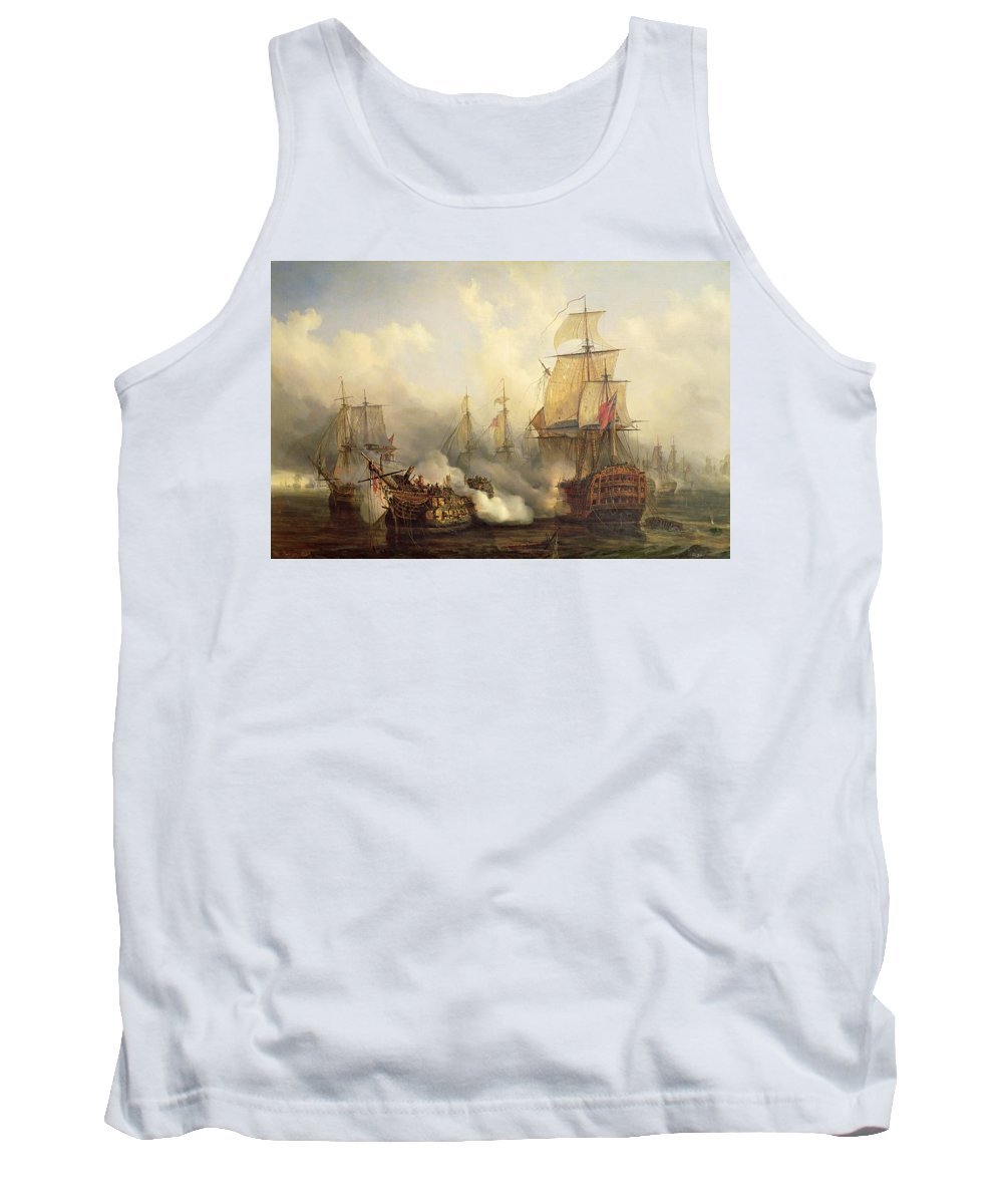 The Tank Top featuring the painting Unknown Title Sea Battle by Auguste Etienne Francois Mayer