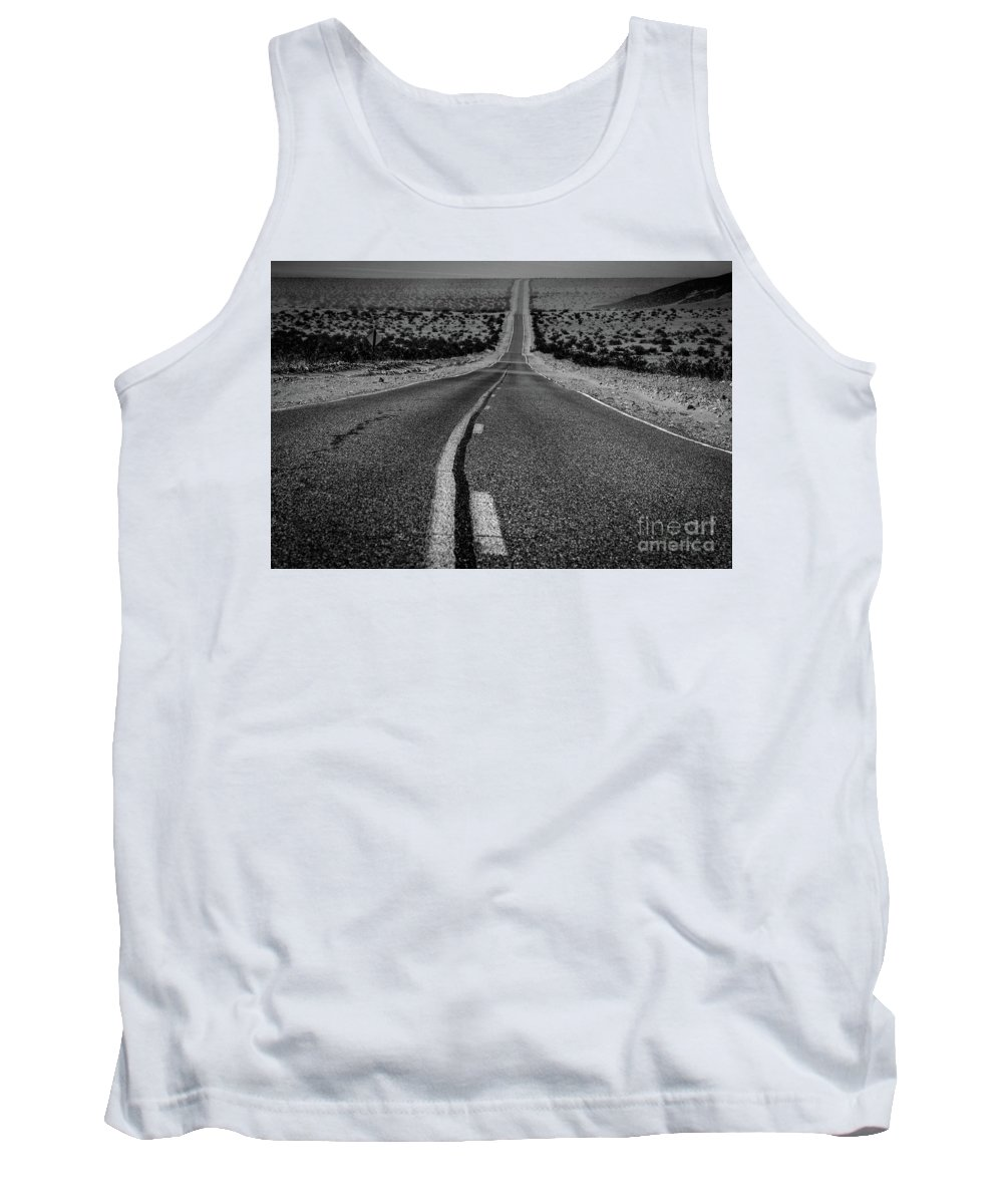Death Valley Tank Top featuring the photograph The Road To Shoshone by Jeffrey Hubbard