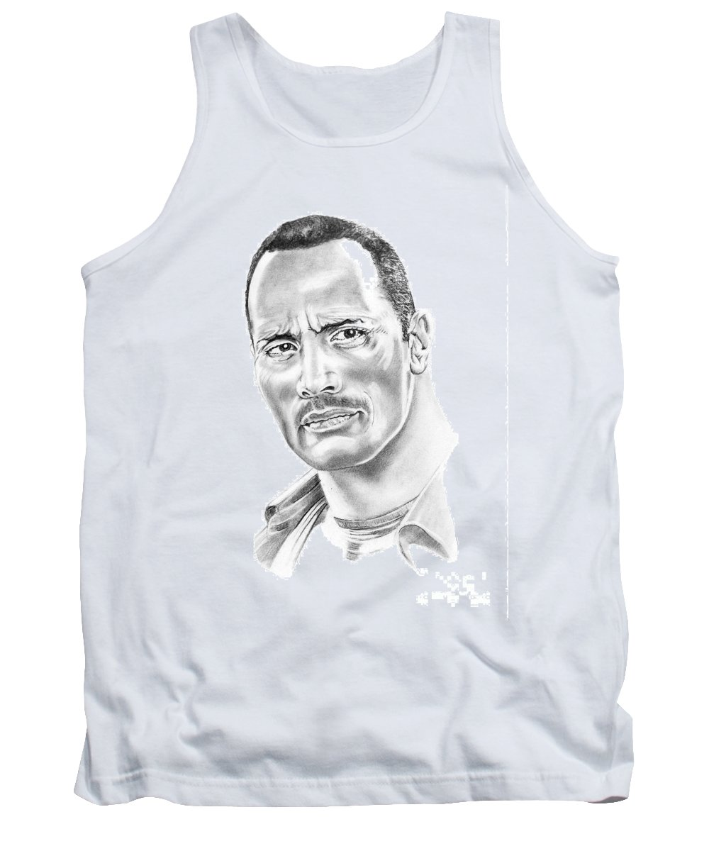 Pencil Tank Top featuring the drawing The Roc  Dwain Johnson by Murphy Elliott