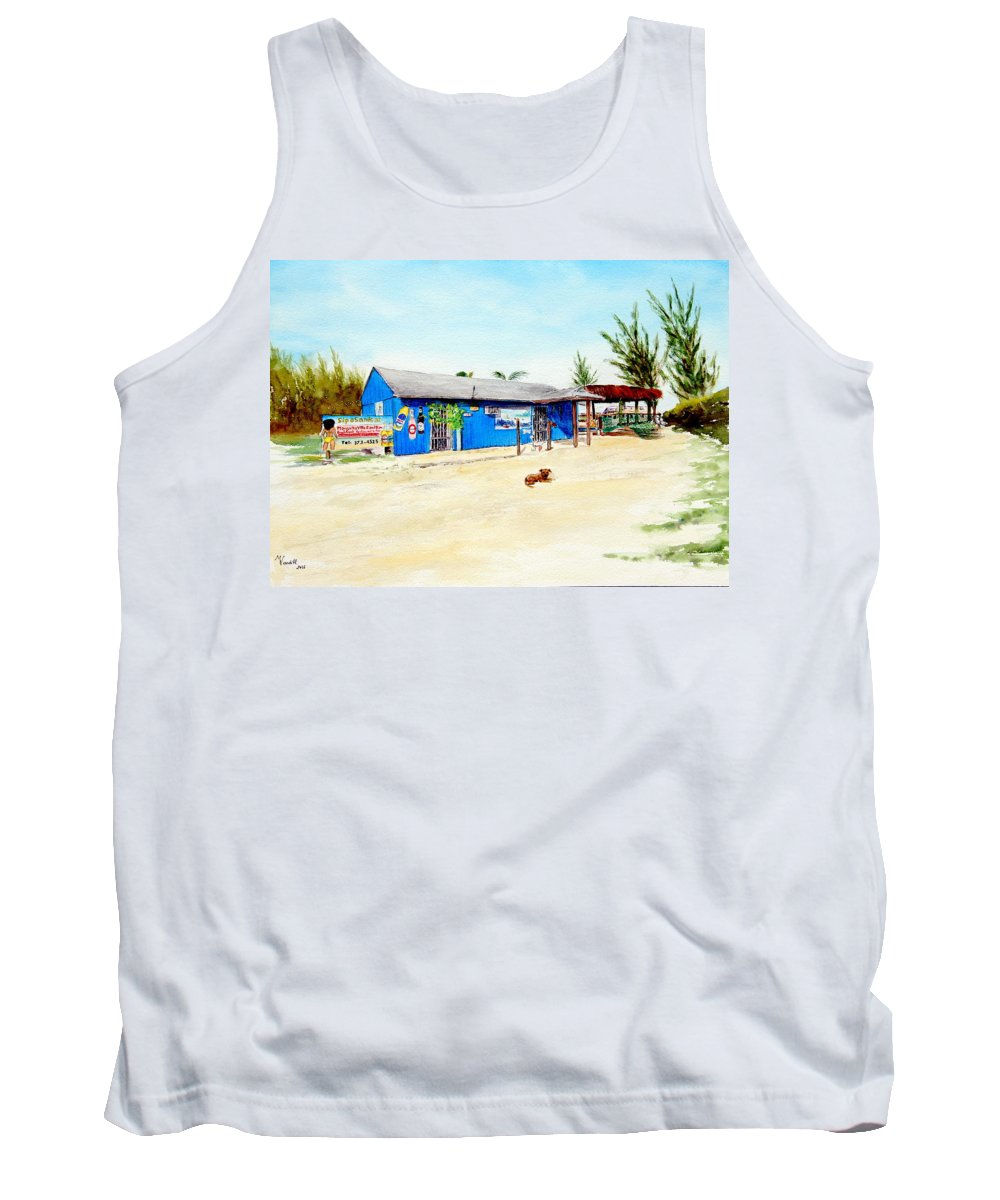 My Favorite Beach Bar!!!! They Have The Best Pina Colada Tank Top featuring the painting The Sand Bar - Margaritaville, Freeport, Bahamas by Martine Wardill