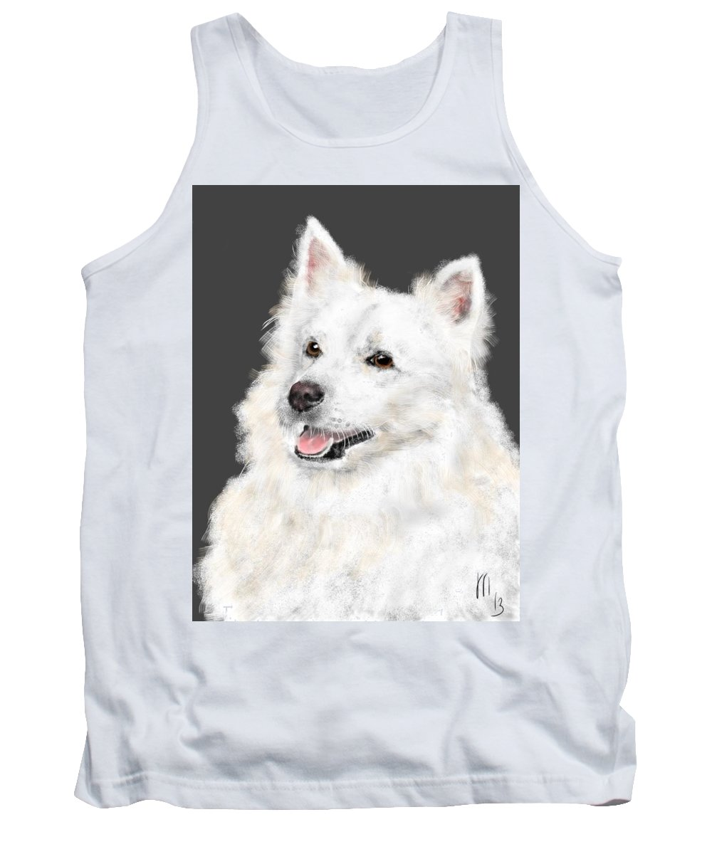Animals Tank Top featuring the painting The Smiling Eskie by Lois Ivancin Tavaf
