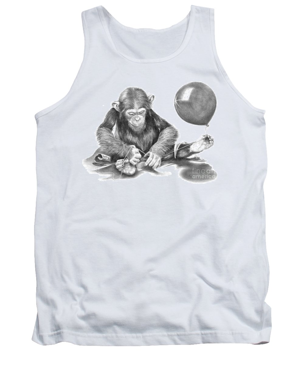 Pencil Tank Top featuring the drawing The String Theory by Murphy Elliott