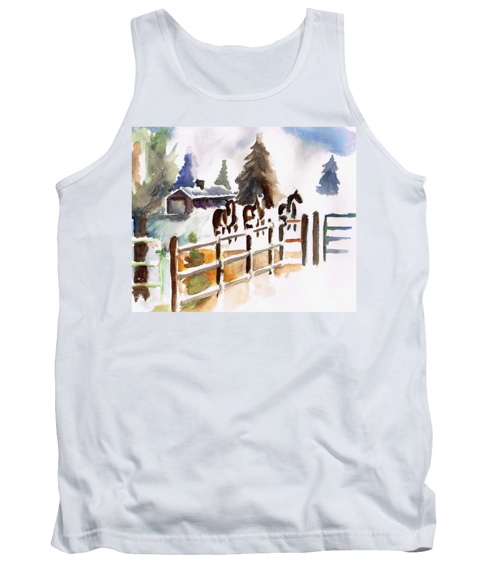 Horses Tank Top featuring the painting The Three Amigos by Frances Marino