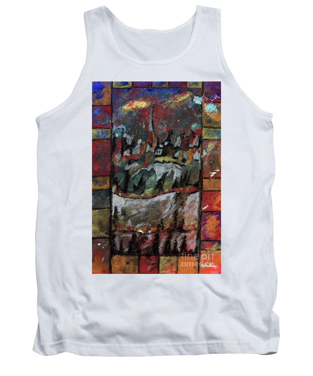 Abstract Tank Top featuring the painting The Village On A Hill by Callan Art