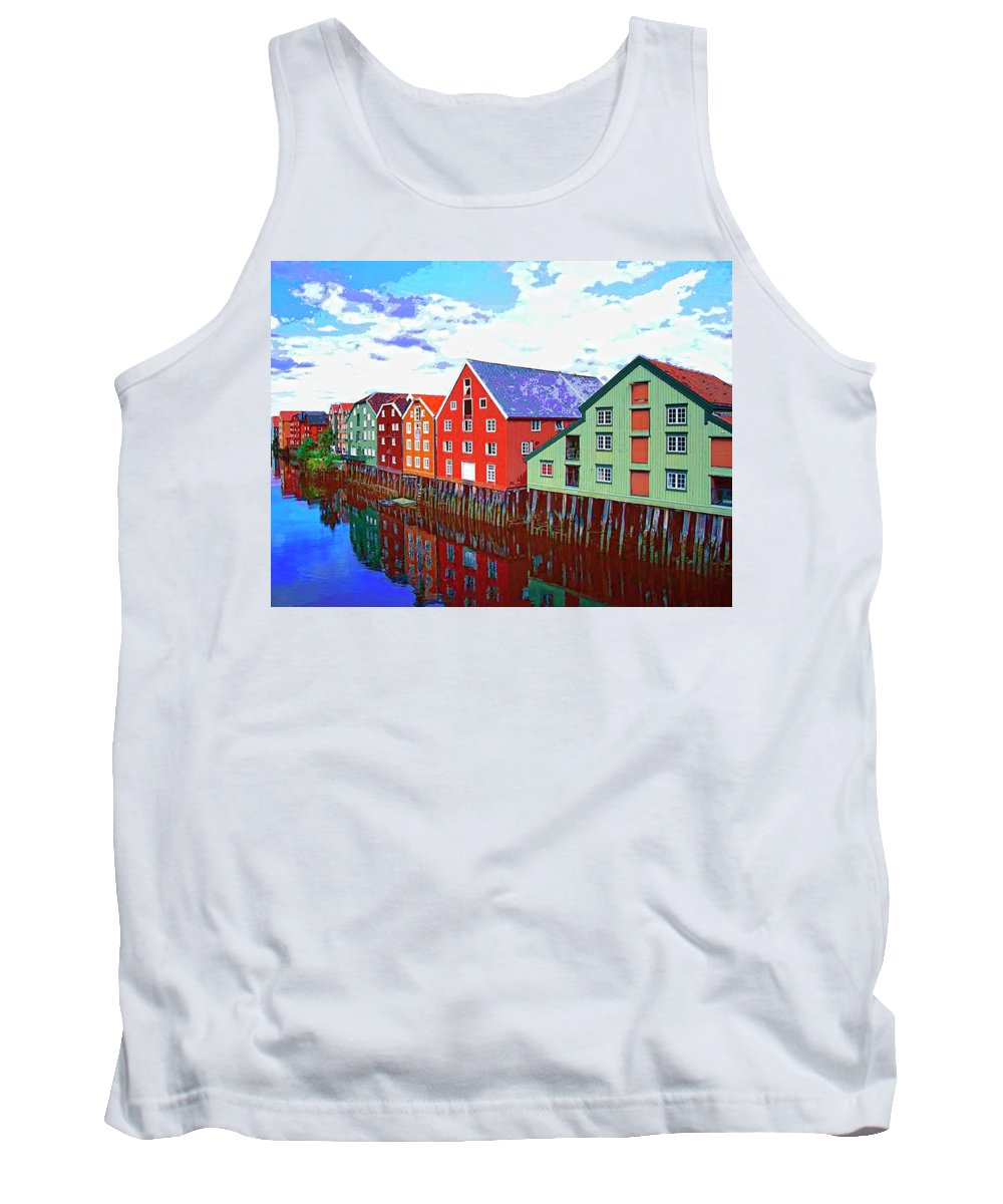 Waterfront Tank Top featuring the mixed media The Waterfront by Dominic Piperata